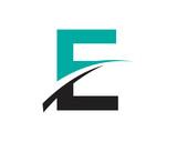 Fototapety E Letter Swoosh Modern Logo