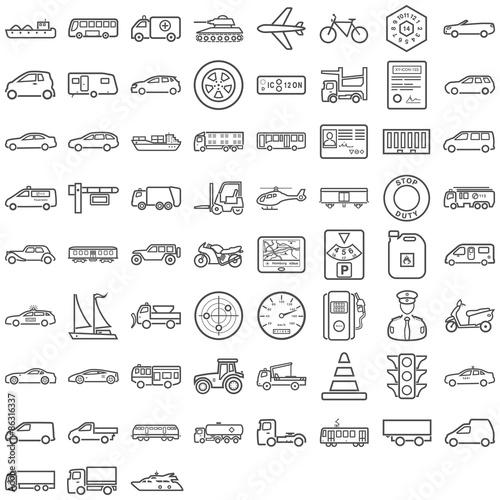 Tapeta Schwarze Symbole aus dem Transportsektor