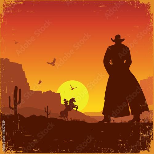 Fotobehang Bruin Wild West american landscape.Vector western poster