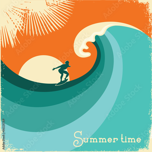 Fototapeta Surfer and sea wave.Retro poster illustration
