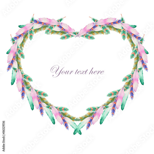 Heart frame, wreath of feathers painted with watercolors on a white background, decoration postcard or invitation © nastyasklyarova