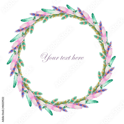 Wreath of feathers painted with watercolors on a white background, decoration postcard or invitation © nastyasklyarova