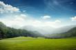 Obrazy na płótnie, fototapety, zdjęcia, fotoobrazy drukowane : green meadow and hills with forest
