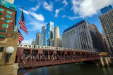 Fototapeta Chicago downtown and Chicago River