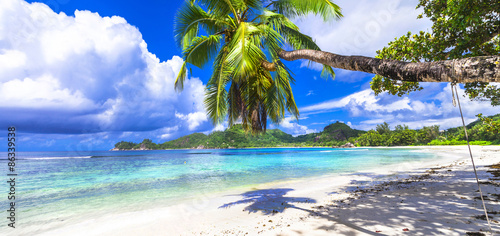 Tropical paradise on Seychelles island. beaches of Mahe