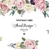 Greeting card with roses, watercolor, can be used as invitation - 86349344