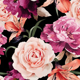 Fototapety Seamless floral pattern with roses, watercolor. Vector illustrat