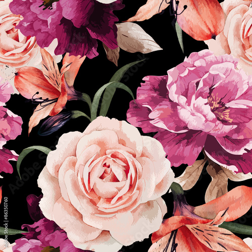 Seamless floral pattern with roses, watercolor. Vector illustrat - 86350760