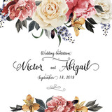 Greeting card with roses, watercolor, can be used as invitation