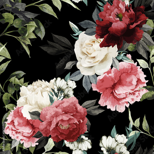 Seamless floral pattern with roses, watercolor. Vector illustrat - 86351102