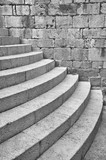 Distinctive half round staircase at the south entrance to the Dominican Monastery in Dubrovnik, Croatia poster