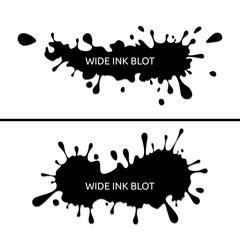 Wide vector ink blot splatter, paint splash set, collection.