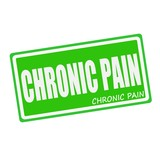 CHRONIC PAIN white stamp text on green poster
