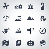 Fototapety Vector black travel icon set