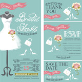 Fototapety Bridal shower invitation.Bridal dress,bouquet,accessories set