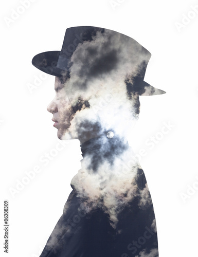 Double exposure of girl wearing hat and full moon sky - 86388309