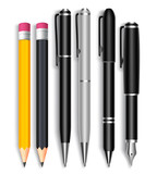 Fototapety Set of Realistic 3D Pencils and Elegant Black and Silver Ball Pens