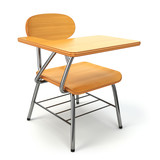 Fototapety Wooden school desk and chair isolated on white.