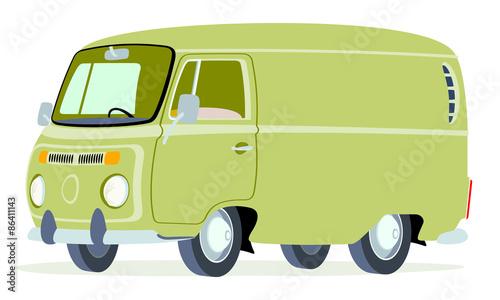 Caricatura furgoneta Volkswagen T2 panel verde oliva vista frontal y lateral