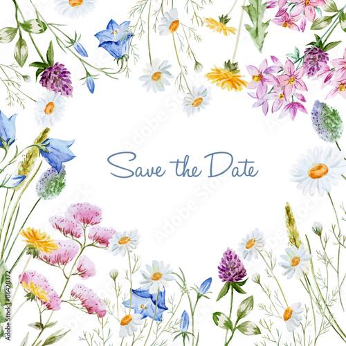 Zdjęcia na płótnie, fototapety, obrazy : Watercolor floral frame