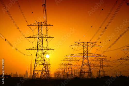 Tuinposter Dubai High voltage power lines