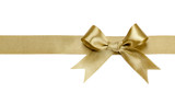 Gold ribbon with bow isolated
