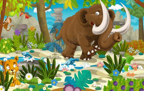 Cartoon scene with prehistoric mammoth
