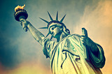 Close up of the statue of liberty, New York City, vintage process - 86424982