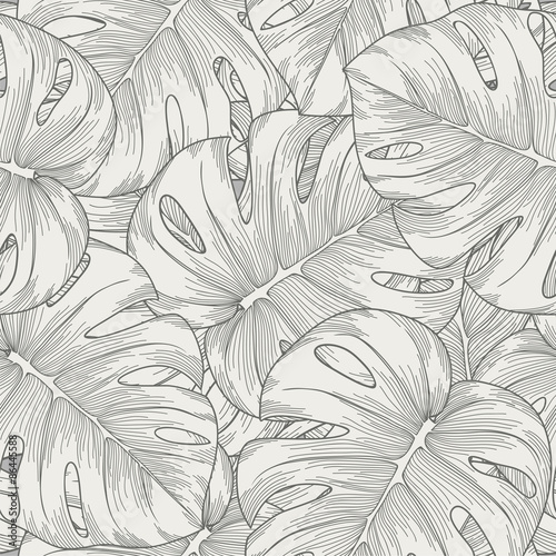 seamless background. leaves monster with outline - 86445588