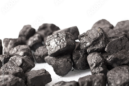 Pile of coal isolated on white background - 86454727