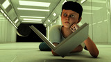 Young boy with book and futuristic scenario poster