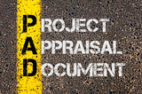 Business Acronym PAD as Project Appraisal Document poster