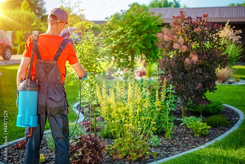 Poster Gardener with Pests Spray