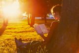 Fototapety girl reading book at park in summer sunset light