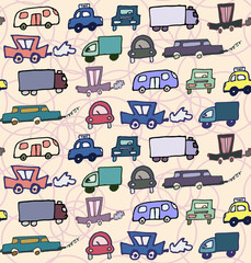 Hand-drawn doodle-style cars seamless pattern vector background