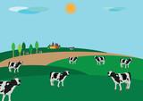 campagna contadina con animali al pascolo poster