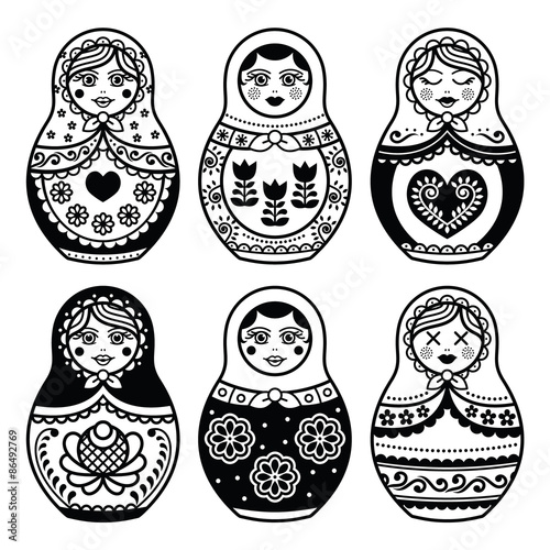 Matryoshka, Russian doll icons set  © redkoala
