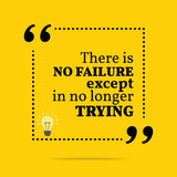 Inspirational motivational quote. There is no failure except in poster