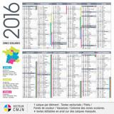 Fototapety Calendrier français 2016 avec vacances scolaires et zones académiques