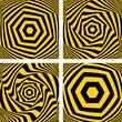 Torsion movement set. Hexagonal shapes.
