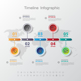 Design simple step number and line business icon timeline/graphi poster