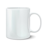 Vector illustration of realistic white mug