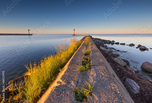 Aluminium Industrial landscape with entrance to harbour in Jastarnia
