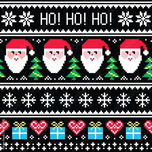 Cotton fabric Christmas jumper or sweater seamless pattern with Santa and presents