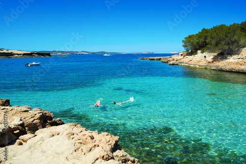 Cala Gracioneta beach in Ibiza Island, Spain