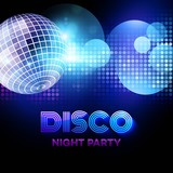 Fototapety Disco background with discoball. Vector illustration