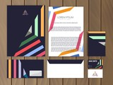 Creative colorful corporate identity with triangle logo design template. Trendy stationery business concept. Vector illustration.