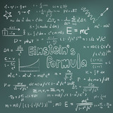 Albert Einstein law and physics mathematical formula equation handwriting poster