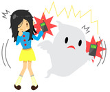 Cute cartoon girl is seeing or sensing a supernatural ghost frequency wave poster