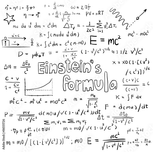 poster of Albert Einstein theory and physics mathematical formula equation icon